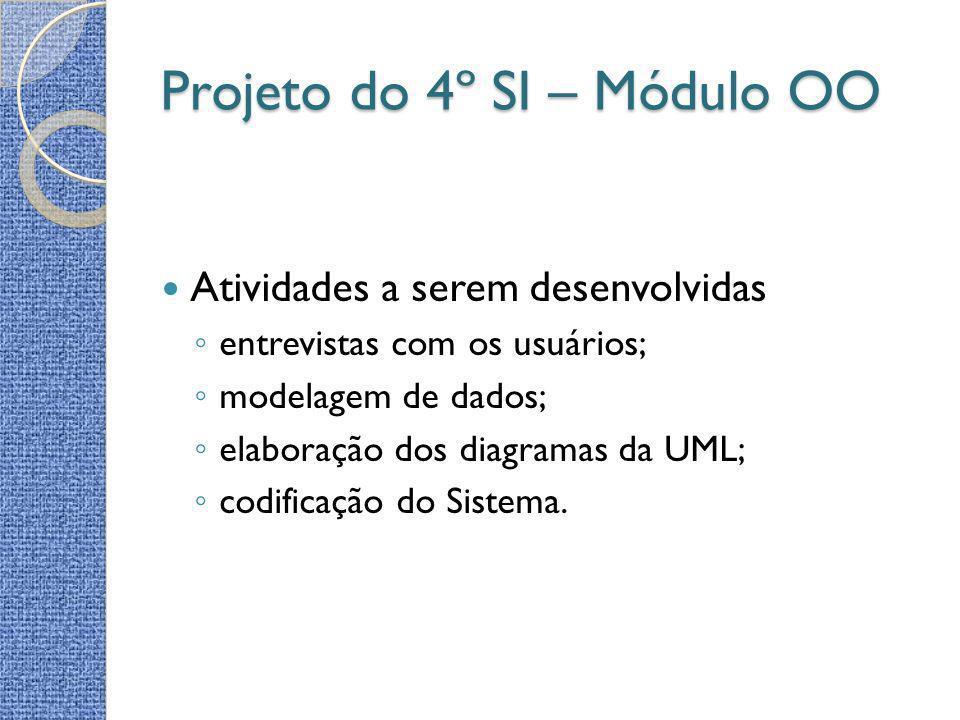 Projeto do 4º SI – Módulo OO Atividades a serem desenvolvidas entrevistas com os usuários; modelagem de dados; elaboração dos diagramas da UML; codifi