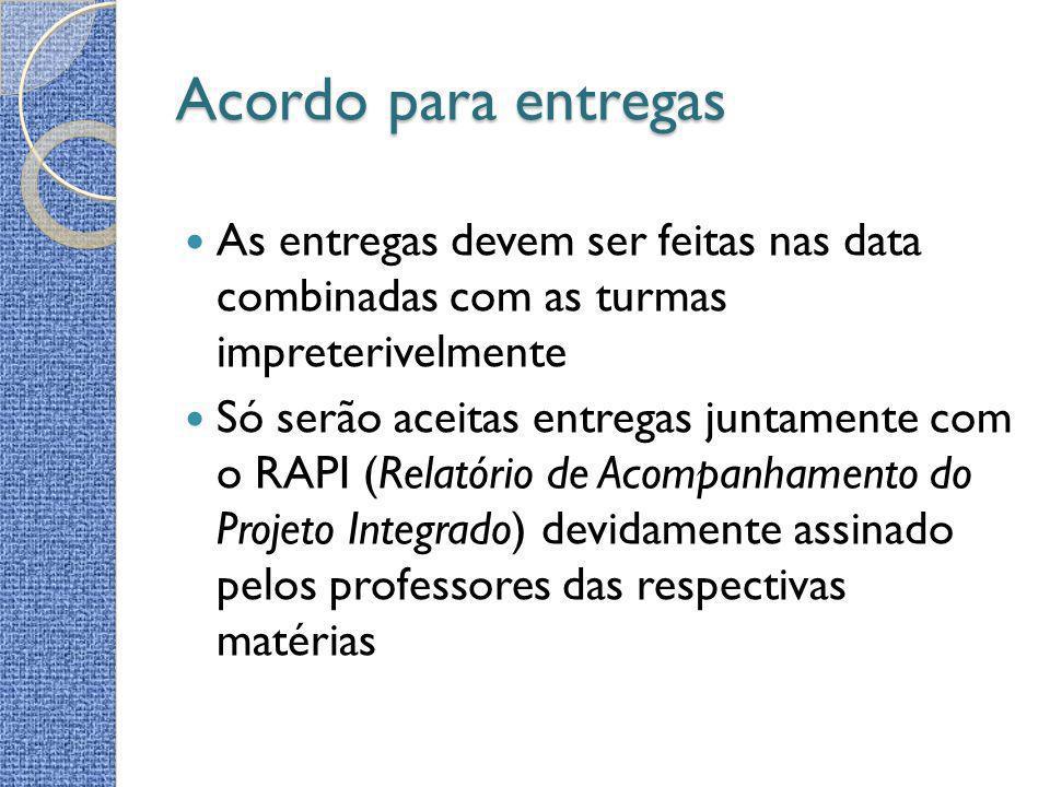 Acordo para entregas Entregas não constando o RAPI ou em atraso serão aceitas na aula presencial subsequente com decréscimo de 50% da nota.