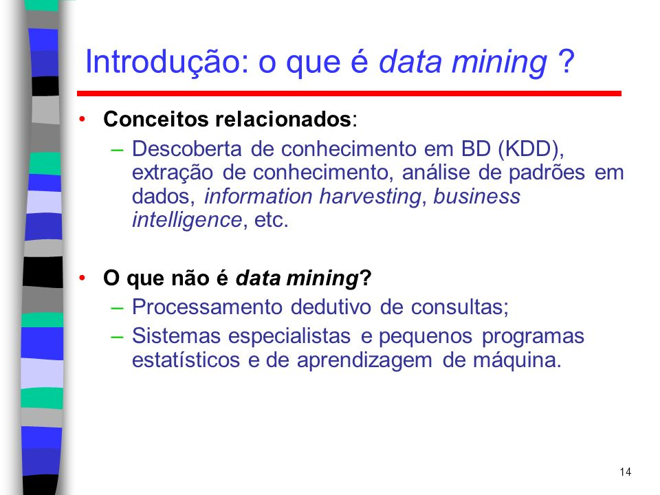 14 Introdução: o que é data mining ? Conceitos relacionados: –Descoberta de conhecimento em BD (KDD), extração de conhecimento, análise de padrões em