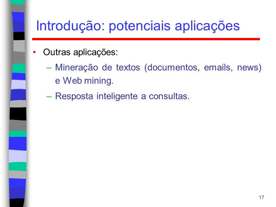 17 Introdução: potenciais aplicações Outras aplicações: –Mineração de textos (documentos, emails, news) e Web mining. –Resposta inteligente a consulta