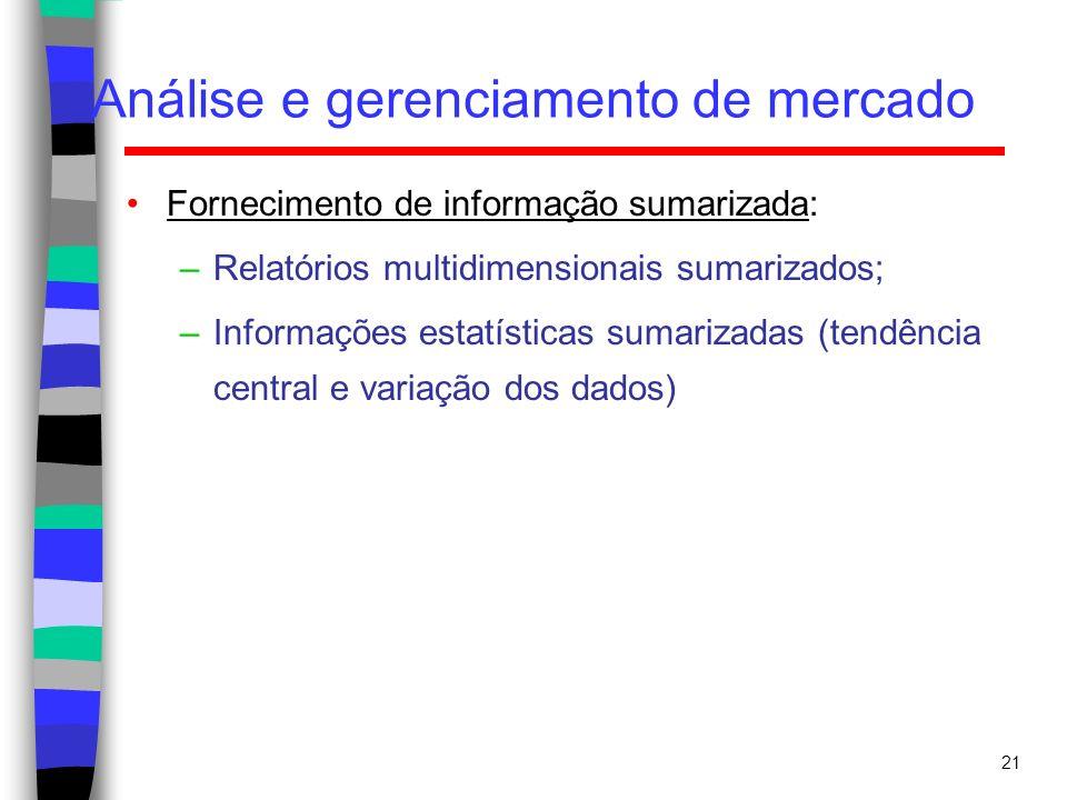 21 Análise e gerenciamento de mercado Fornecimento de informação sumarizada: –Relatórios multidimensionais sumarizados; –Informações estatísticas suma