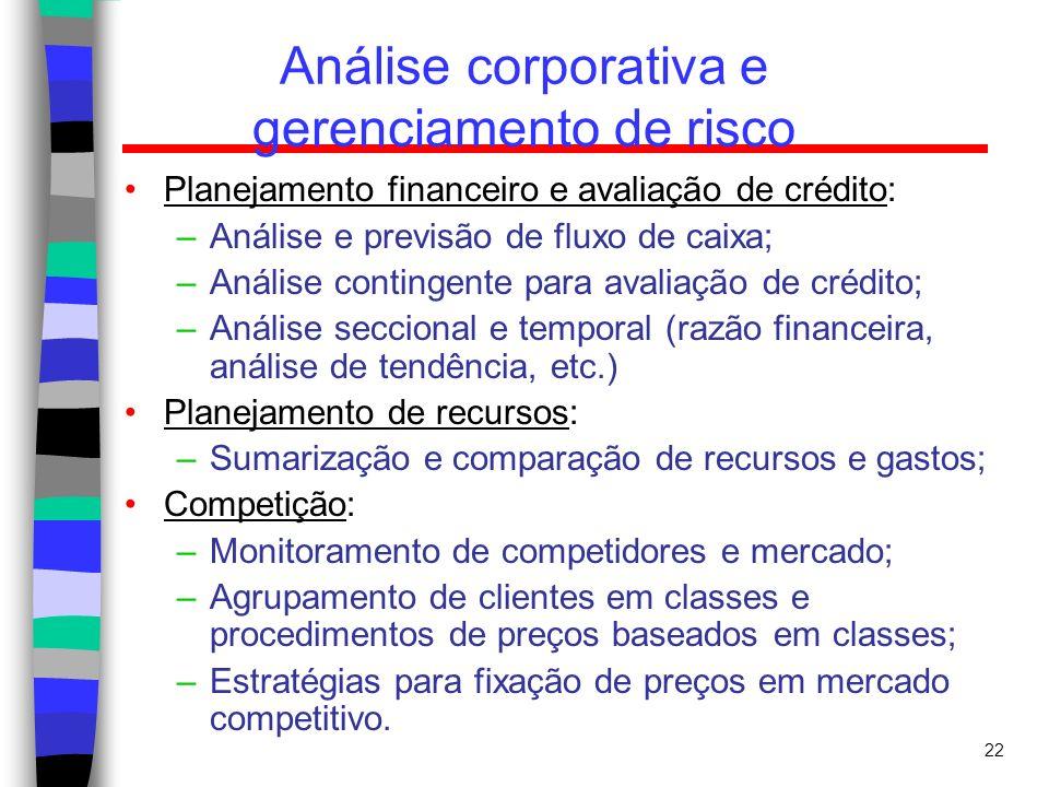 22 Análise corporativa e gerenciamento de risco Planejamento financeiro e avaliação de crédito: –Análise e previsão de fluxo de caixa; –Análise contin