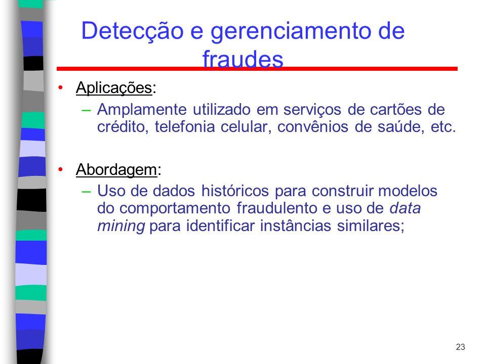 23 Detecção e gerenciamento de fraudes Aplicações: –Amplamente utilizado em serviços de cartões de crédito, telefonia celular, convênios de saúde, etc