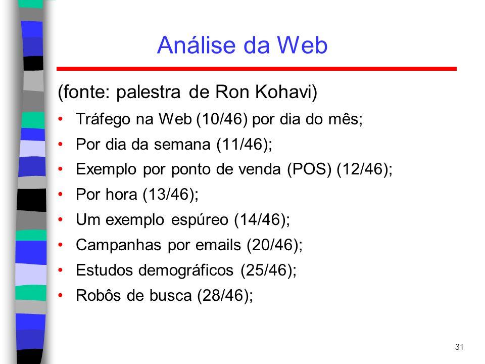 31 Análise da Web (fonte: palestra de Ron Kohavi) Tráfego na Web (10/46) por dia do mês; Por dia da semana (11/46); Exemplo por ponto de venda (POS) (
