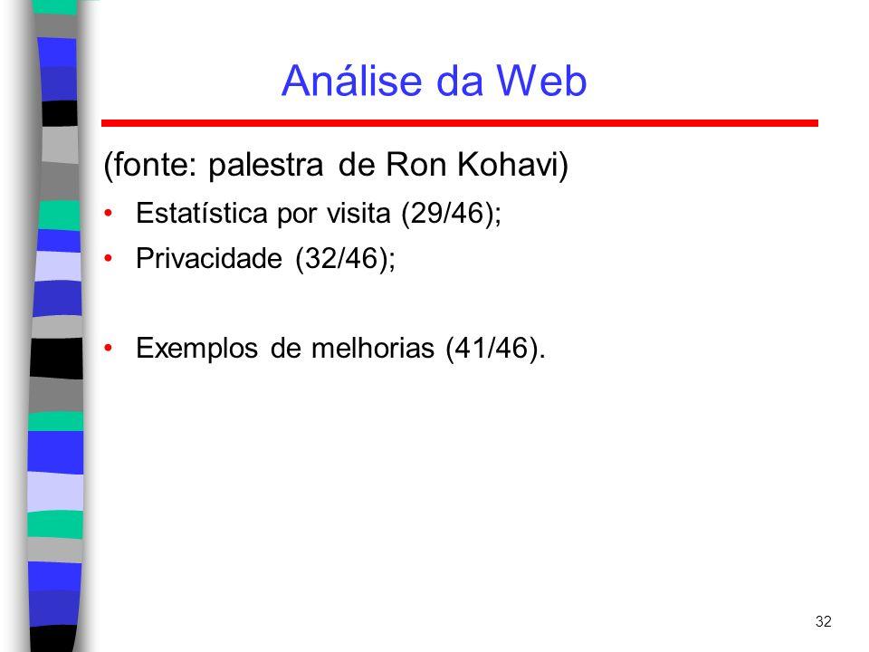32 Análise da Web (fonte: palestra de Ron Kohavi) Estatística por visita (29/46); Privacidade (32/46); Exemplos de melhorias (41/46).
