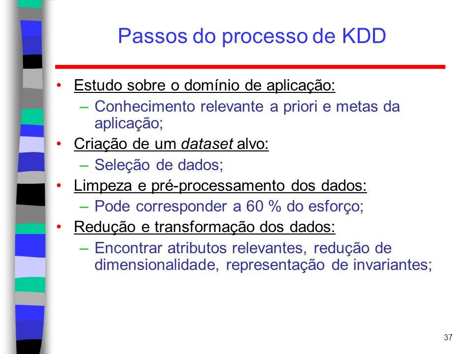 37 Passos do processo de KDD Estudo sobre o domínio de aplicação: –Conhecimento relevante a priori e metas da aplicação; Criação de um dataset alvo: –