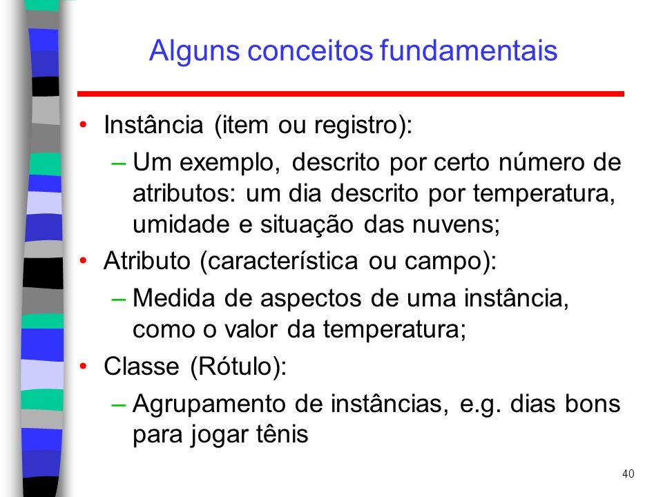 40 Alguns conceitos fundamentais Instância (item ou registro): –Um exemplo, descrito por certo número de atributos: um dia descrito por temperatura, u
