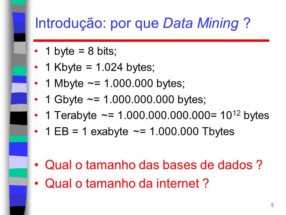 Introdução: por que Data Mining ? 5 1 byte = 8 bits; 1 Kbyte = 1.024 bytes; 1 Mbyte ~= 1.000.000 bytes; 1 Gbyte ~= 1.000.000.000 bytes; 1 Terabyte ~=