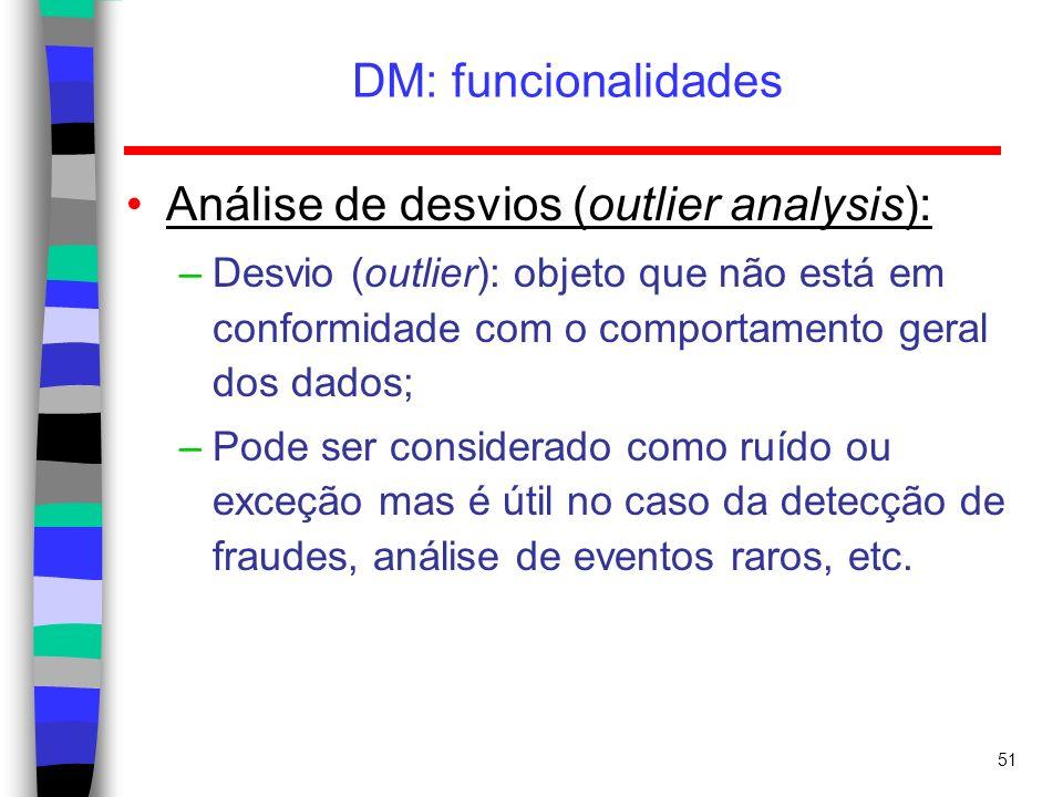 51 DM: funcionalidades Análise de desvios (outlier analysis): –Desvio (outlier): objeto que não está em conformidade com o comportamento geral dos dad