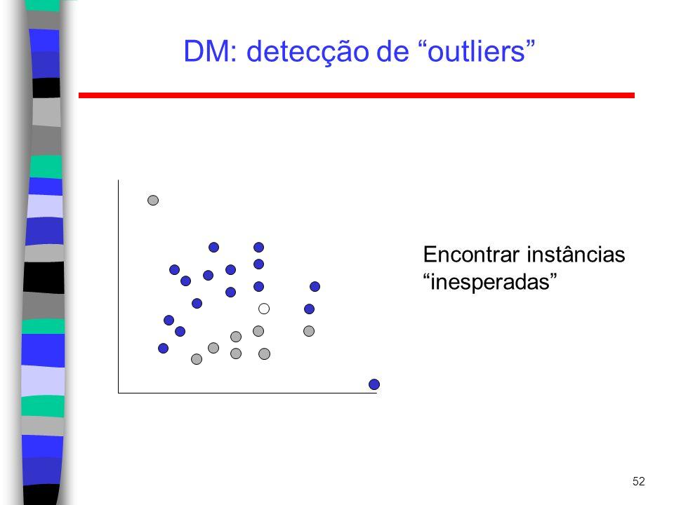 52 DM: detecção de outliers Encontrar instâncias inesperadas