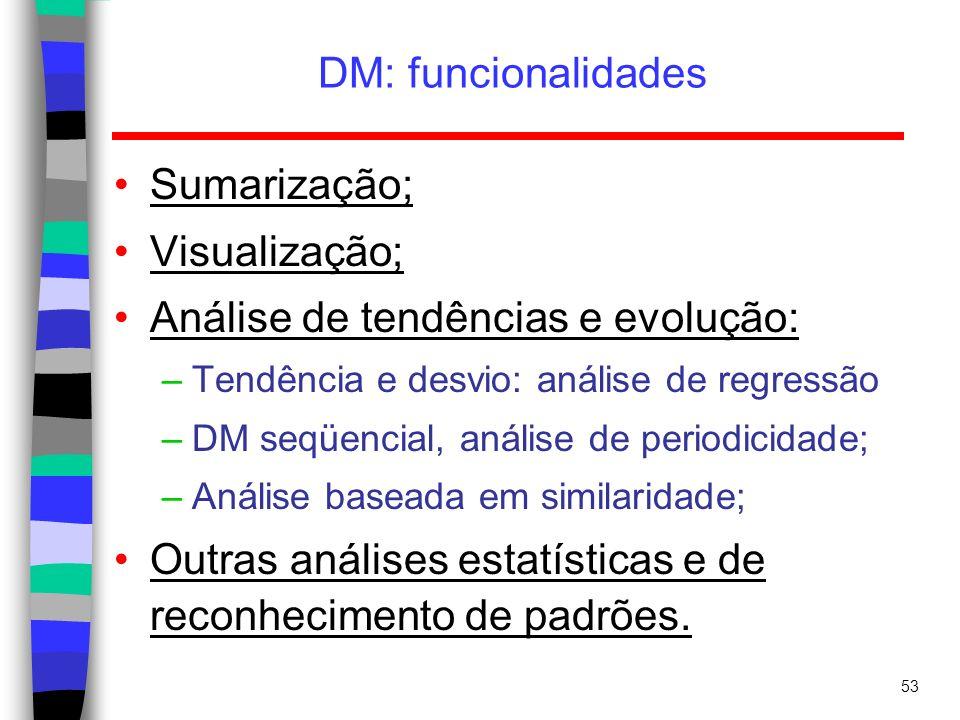 53 DM: funcionalidades Sumarização; Visualização; Análise de tendências e evolução: –Tendência e desvio: análise de regressão –DM seqüencial, análise