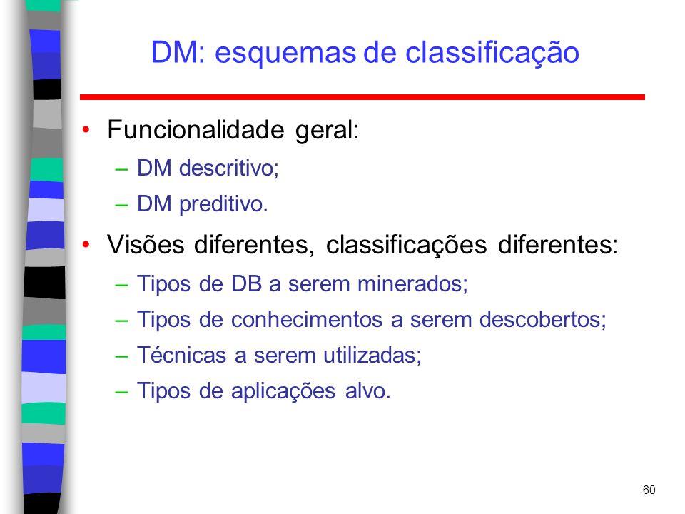 60 DM: esquemas de classificação Funcionalidade geral: –DM descritivo; –DM preditivo. Visões diferentes, classificações diferentes: –Tipos de DB a ser