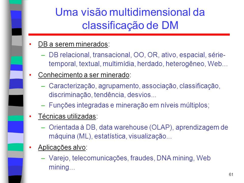 61 Uma visão multidimensional da classificação de DM DB a serem minerados: –DB relacional, transacional, OO, OR, ativo, espacial, série- temporal, tex