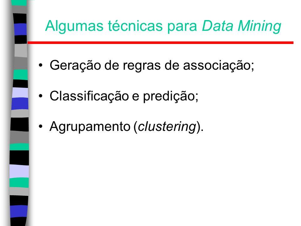 Preparação do dados Limpeza dos dados: –Pré-processamento dos dados para reduzir o ruído e tratar valores desconhecidos; Análise de relevância (seleção de características): –Remoção de atributos irrelevantes ou redundantes; Transformação de dados: –Generalização e normalização dos dados.
