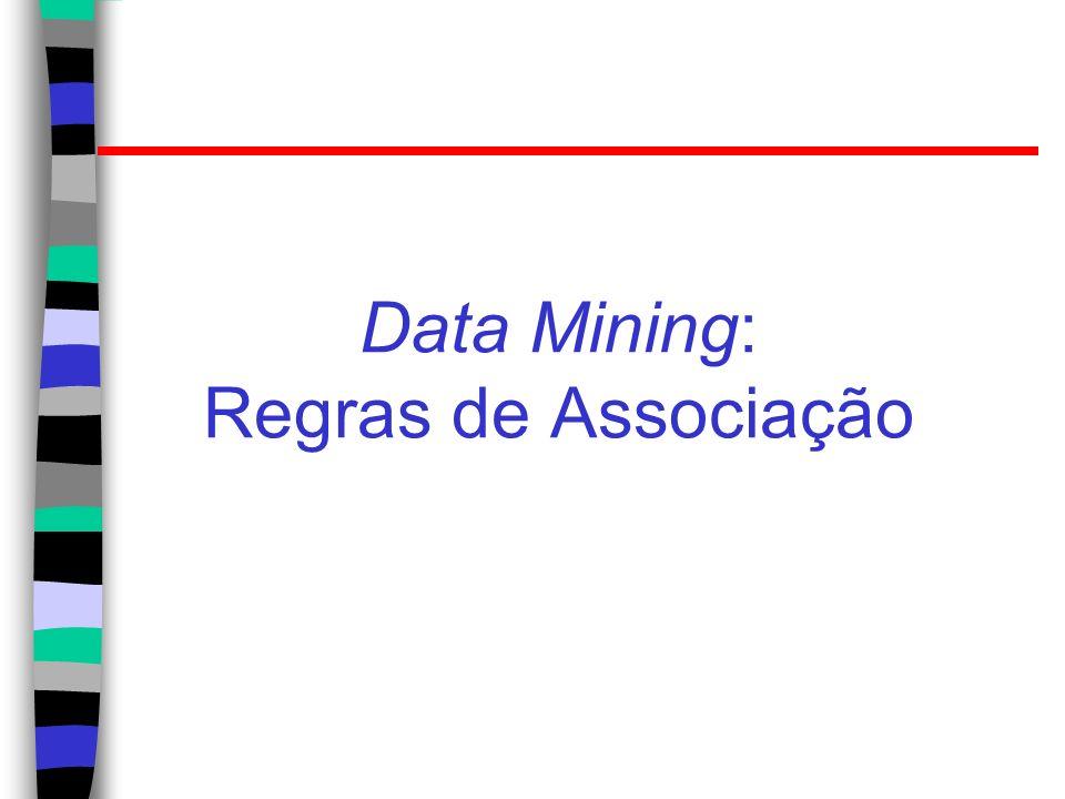 Regras de associação Mineração de associações ou de regras de associação: – Encontrara padrões freqüentes, associações, correlações, ou estruturas causais a partir de conjuntos de itens ou objetos em DB de transações, relacionais, ou em outros repositórios de informações.