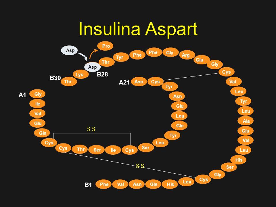 Insulina Humana LISPRO Ácido Aspártico (Asp) ASPART (B28) Glicina Arginina - Arg 31 32 GLARGINA Análogos de Insulina