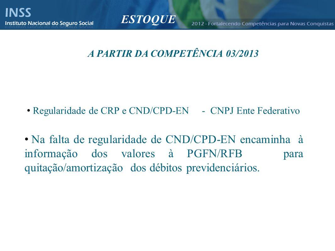Instituto Nacional do Seguro Social - INSS Regularidade de CRP e CND/CPD-EN - CNPJ Ente Federativo Na falta de regularidade de CND/CPD-EN encaminha à