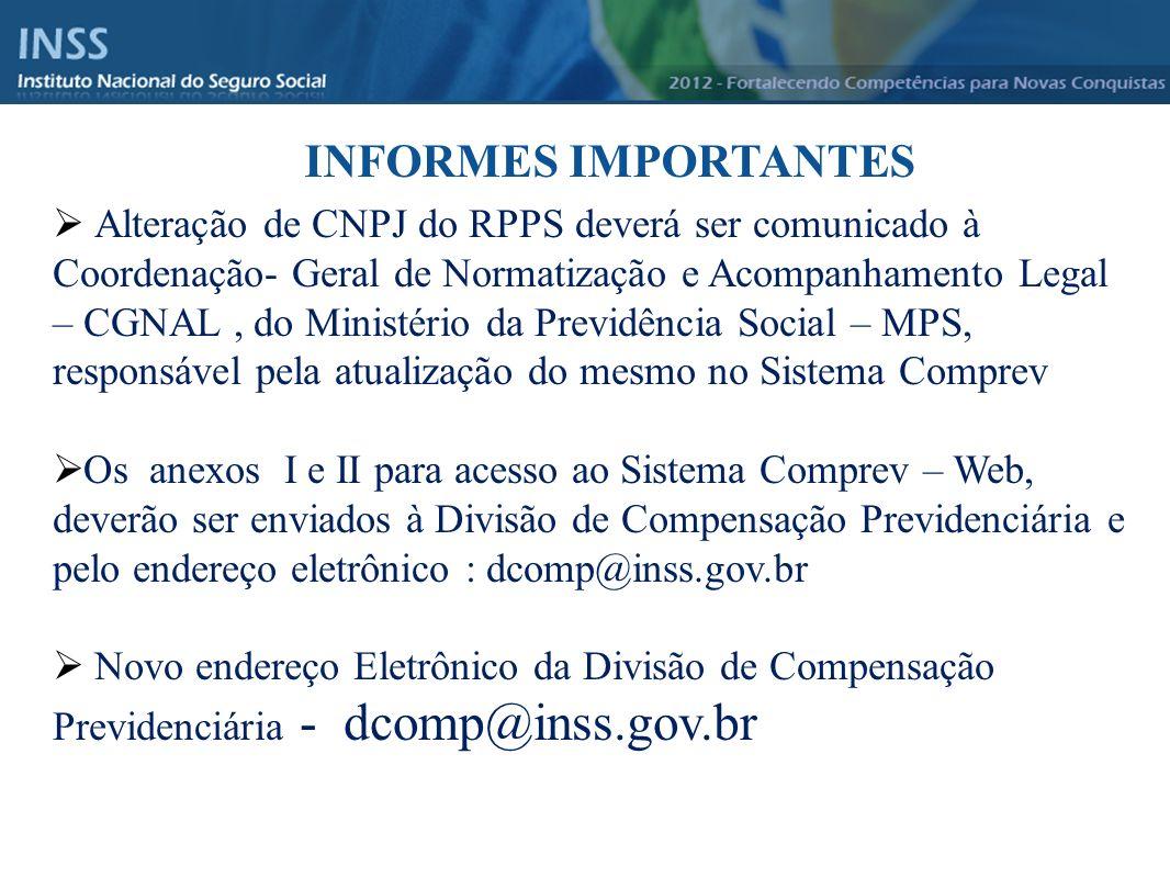 Instituto Nacional do Seguro Social - INSS INFORMES IMPORTANTES Alteração de CNPJ do RPPS deverá ser comunicado à Coordenação- Geral de Normatização e
