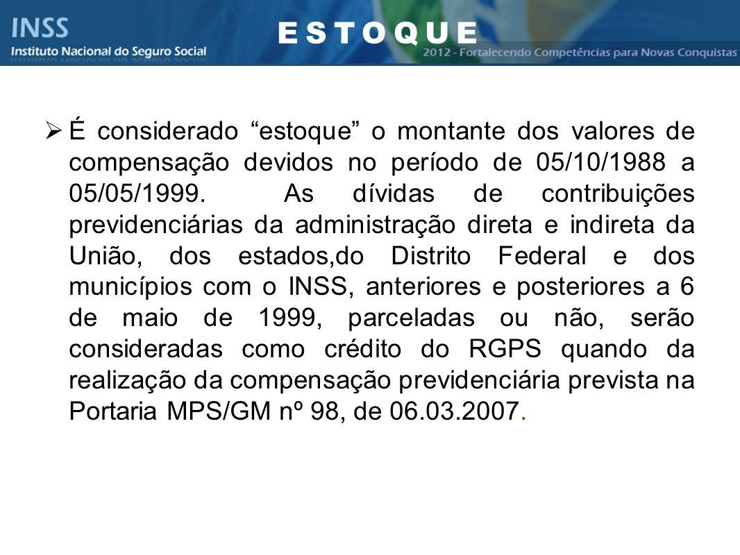 Instituto Nacional do Seguro Social - INSS É considerado estoque o montante dos valores de compensação devidos no período de 05/10/1988 a 05/05/1999.