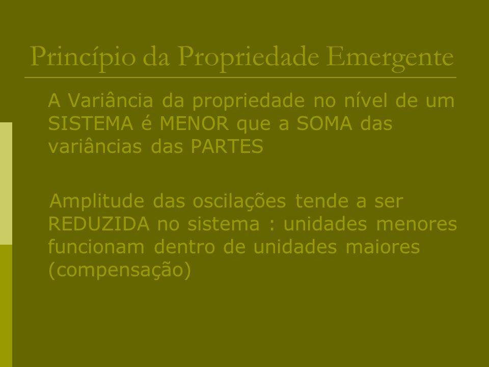 Princípio da Propriedade Emergente A Variância da propriedade no nível de um SISTEMA é MENOR que a SOMA das variâncias das PARTES Amplitude das oscila