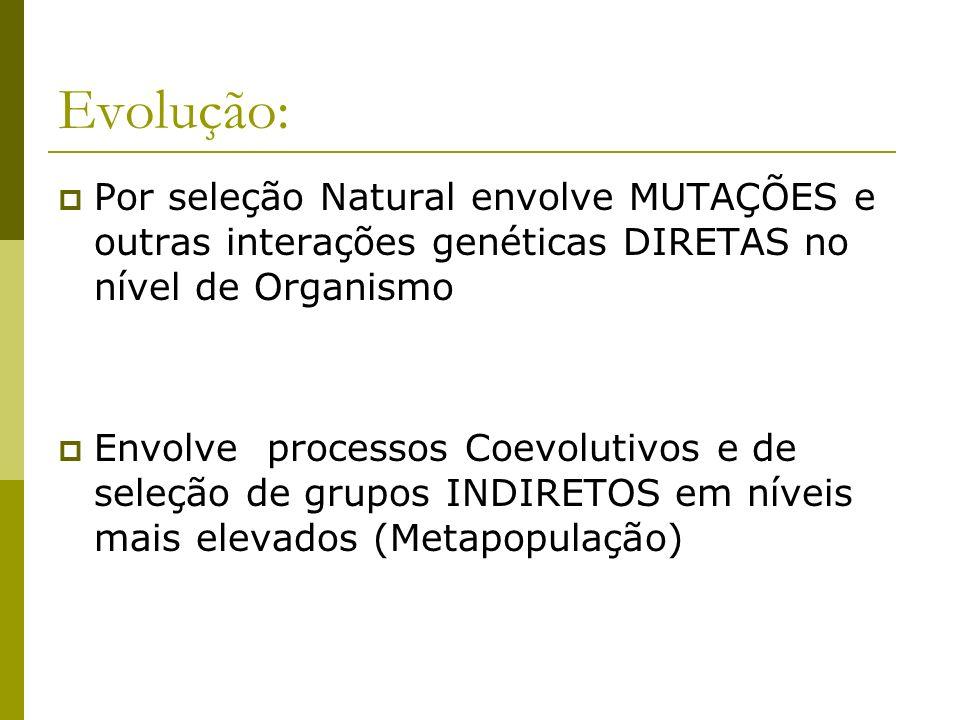 Evolução: Por seleção Natural envolve MUTAÇÕES e outras interações genéticas DIRETAS no nível de Organismo Envolve processos Coevolutivos e de seleção