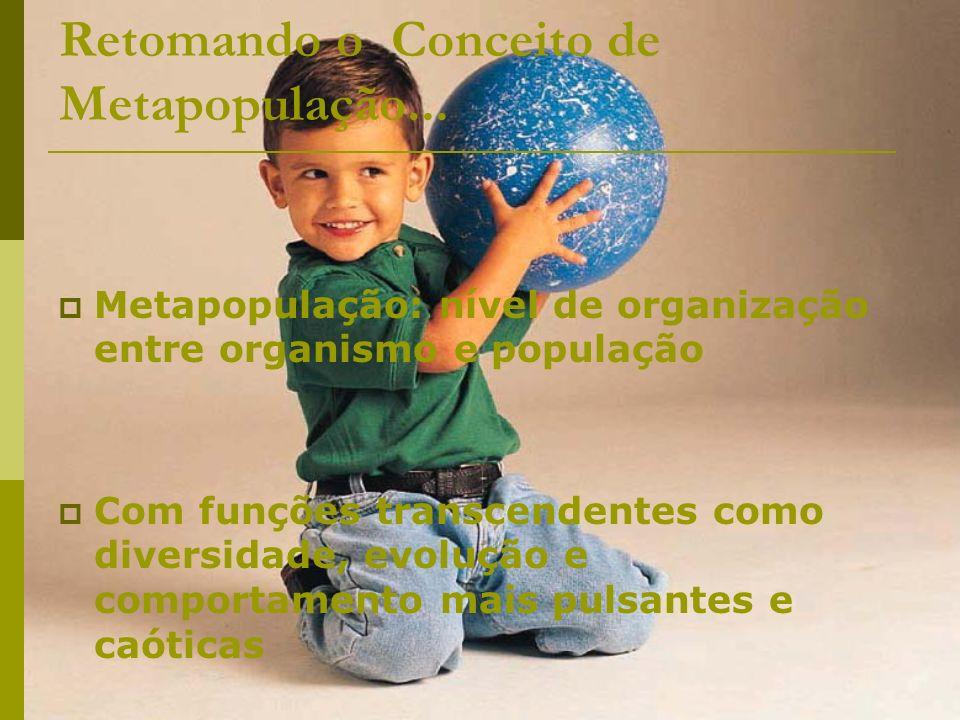Retomando o Conceito de Metapopulação... Metapopulação: nível de organização entre organismo e população Com funções transcendentes como diversidade,