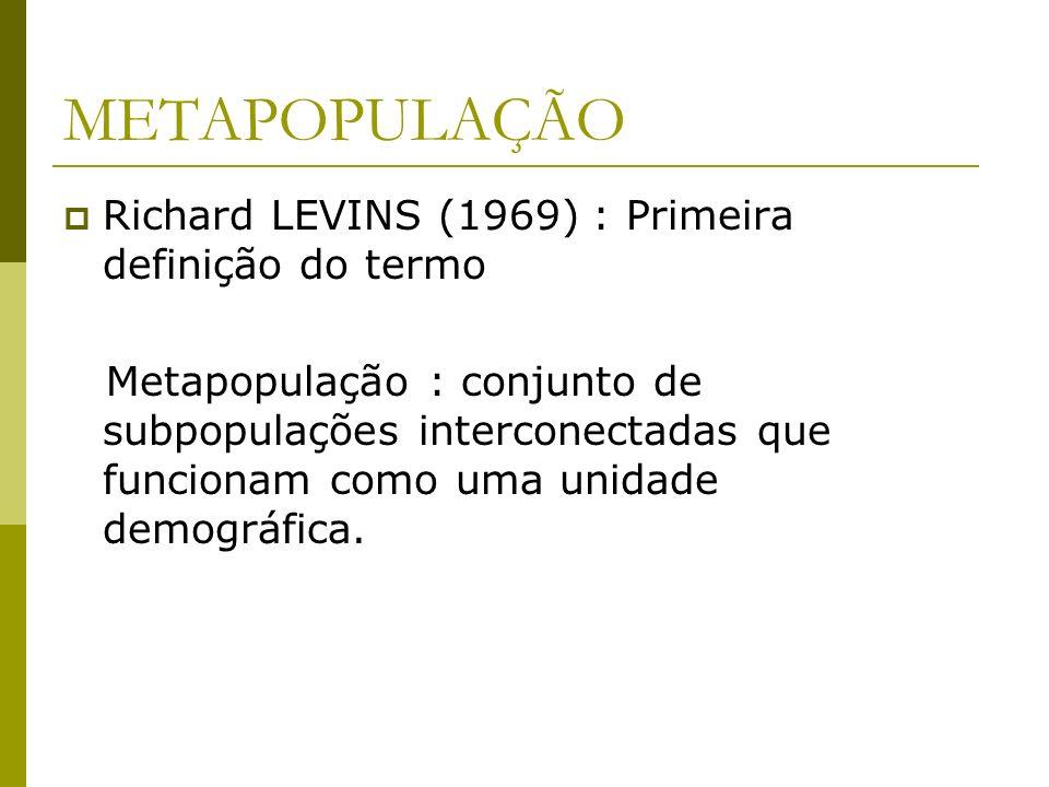 METAPOPULAÇÃO Richard LEVINS (1969) : Primeira definição do termo Metapopulação : conjunto de subpopulações interconectadas que funcionam como uma uni