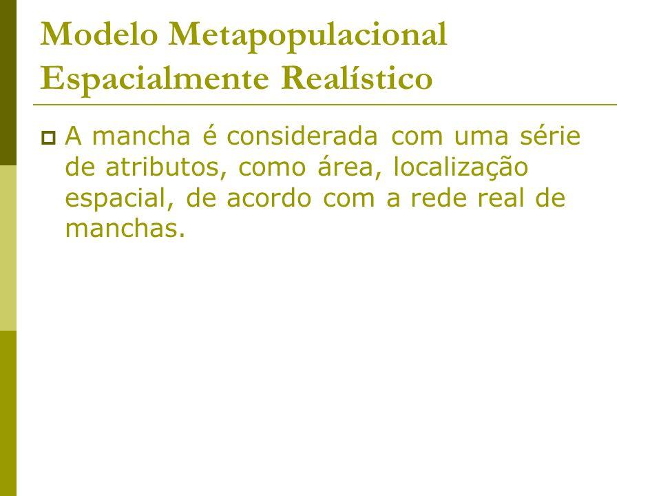 Modelo Metapopulacional Espacialmente Realístico A mancha é considerada com uma série de atributos, como área, localização espacial, de acordo com a r