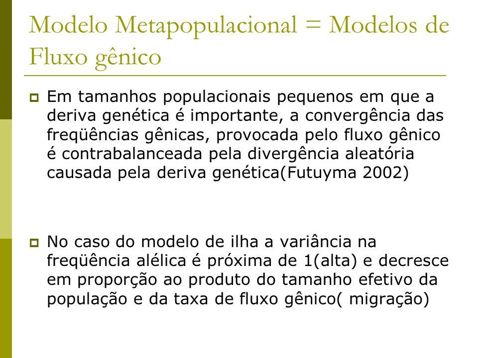 Modelo Metapopulacional = Modelos de Fluxo gênico Em tamanhos populacionais pequenos em que a deriva genética é importante, a convergência das freqüên