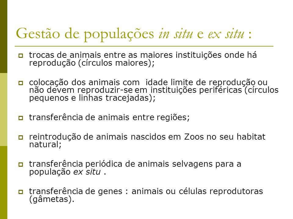 Gestão de populações in situ e ex situ : trocas de animais entre as maiores instituições onde há reprodução (círculos maiores); colocação dos animais