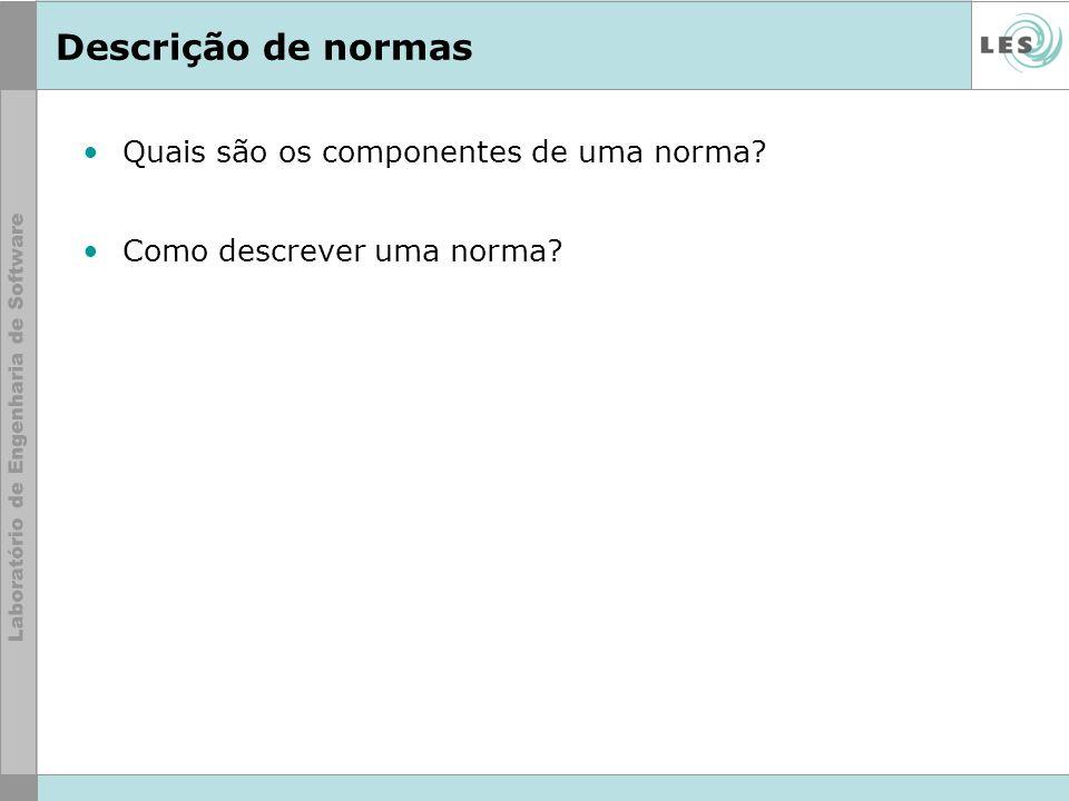 Descrição de normas Quais são os componentes de uma norma? Como descrever uma norma?