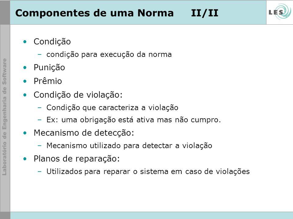 Componentes de uma NormaII/II Condição –condição para execução da norma Punição Prêmio Condição de violação: –Condição que caracteriza a violação –Ex: