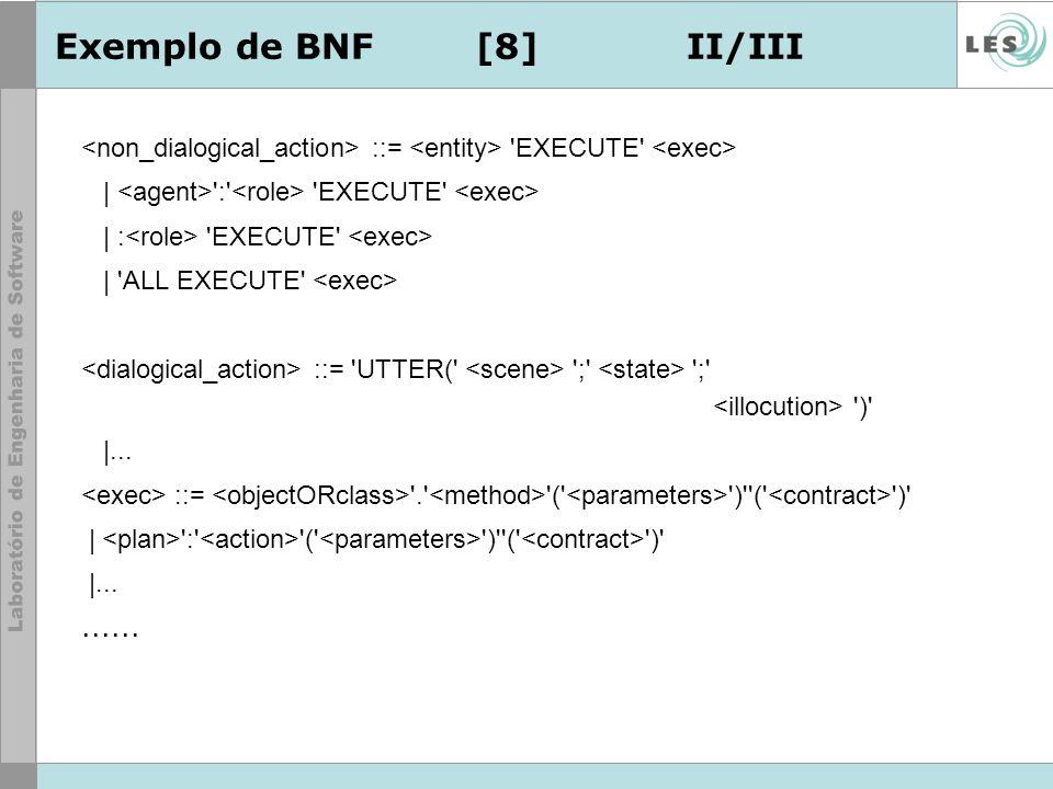 Exemplo de BNF[8]II/III ::= 'EXECUTE' | ':' 'EXECUTE' | : 'EXECUTE' | 'ALL EXECUTE' ::= 'UTTER(' ';' ';' ')' |... ::= '.' '(' ')''(' ')' | ':' '(' ')'