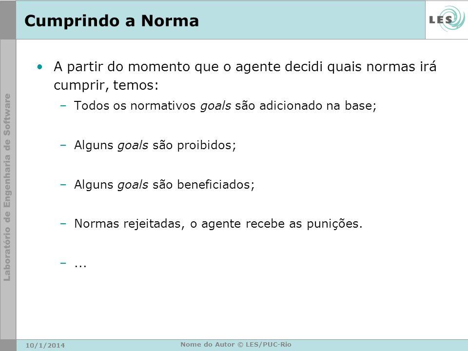 Cumprindo a Norma A partir do momento que o agente decidi quais normas irá cumprir, temos: –Todos os normativos goals são adicionado na base; –Alguns
