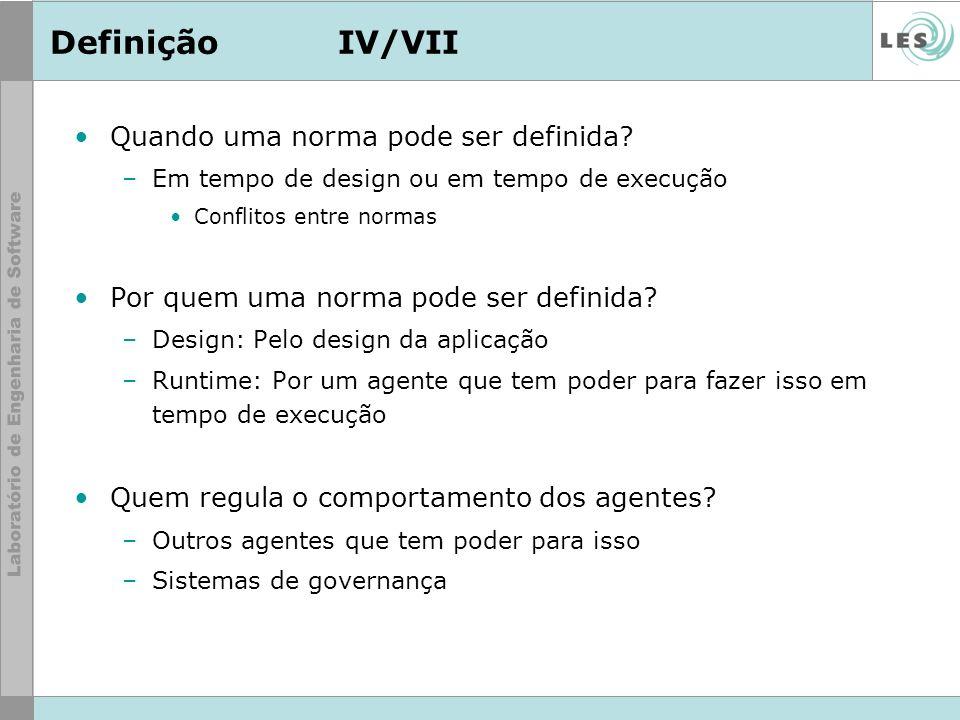 DefiniçãoIV/VII Quando uma norma pode ser definida? –Em tempo de design ou em tempo de execução Conflitos entre normas Por quem uma norma pode ser def