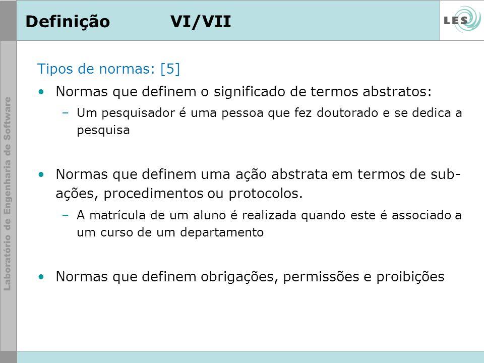 DefiniçãoVI/VII Tipos de normas: [5] Normas que definem o significado de termos abstratos: –Um pesquisador é uma pessoa que fez doutorado e se dedica