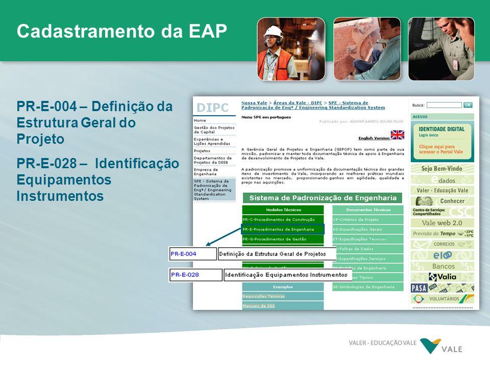 Cadastramento da EAP PR-E-004 – Definição da Estrutura Geral do Projeto PR-E-028 – Identificação Equipamentos Instrumentos