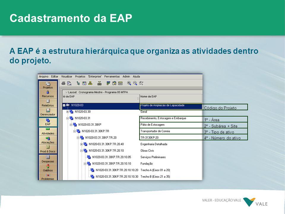 A EAP é a estrutura hierárquica que organiza as atividades dentro do projeto. Código do Projeto 1º - Área 2º - Subárea + Site 3º - Tipo de ativo 4º -