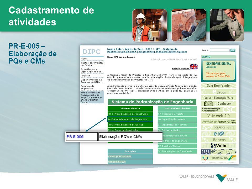 Cadastramento de atividades PR-E-005 – Elaboração de PQs e CMs
