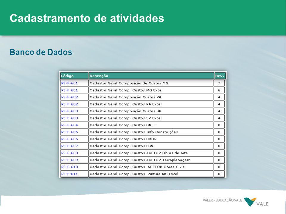 Banco de Dados Cadastramento de atividades