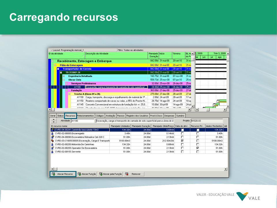 » Alocar recursos padronizados pela Vale »Definir recurso dirigente e primário »Lançar quantidades previstas nos insumos.