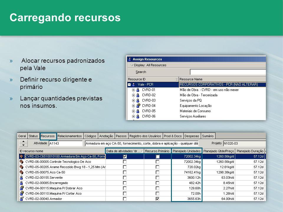 » Alocar recursos padronizados pela Vale »Definir recurso dirigente e primário »Lançar quantidades previstas nos insumos. Carregando recursos