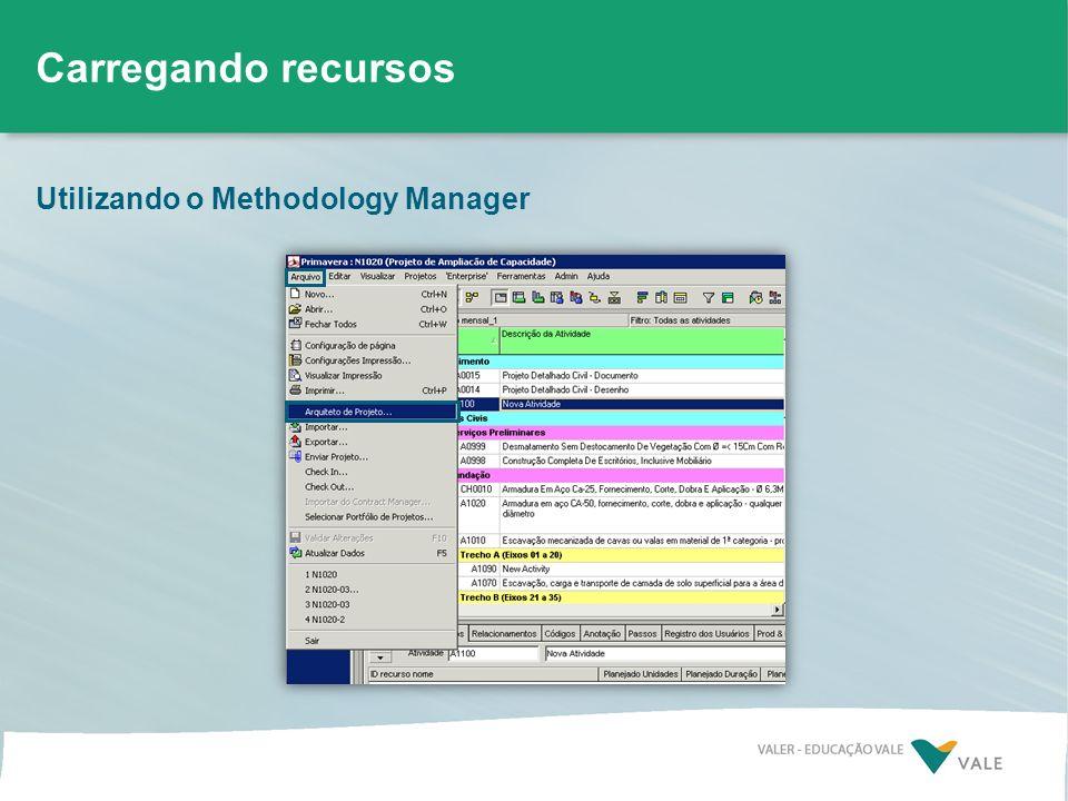 Utilizando o Methodology Manager Carregando recursos