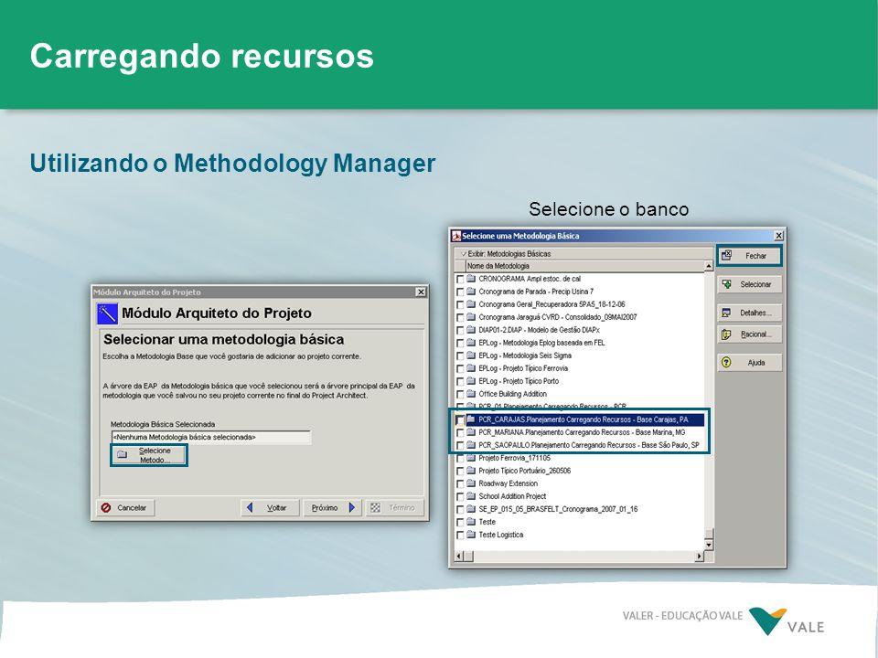 Utilizando o Methodology Manager Carregando recursos Selecione o banco