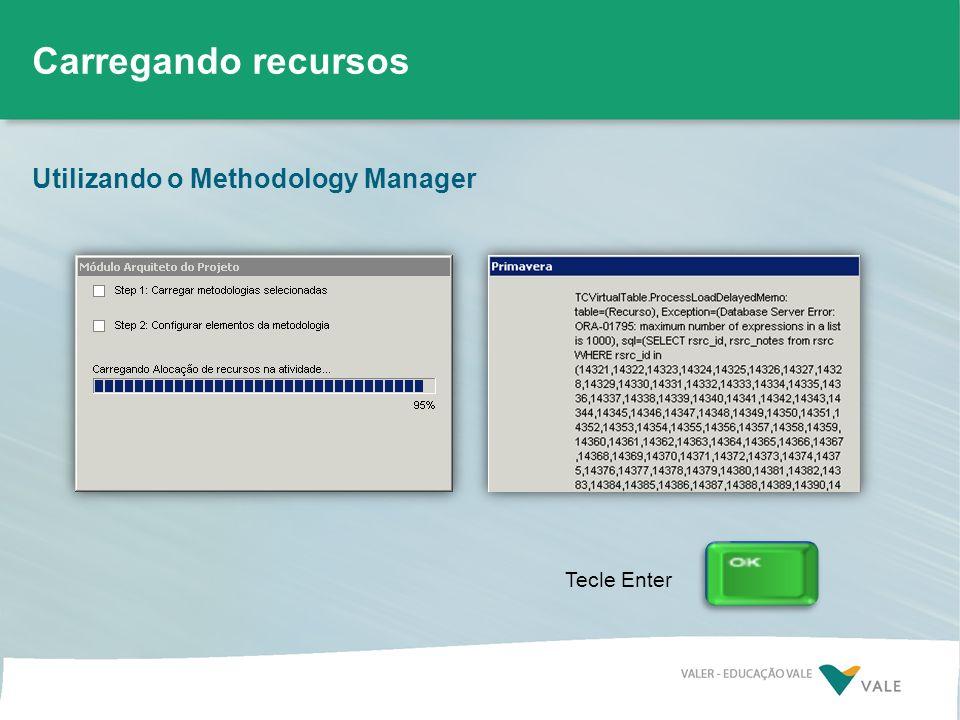 Utilizando o Methodology Manager Carregando recursos Tecle Enter