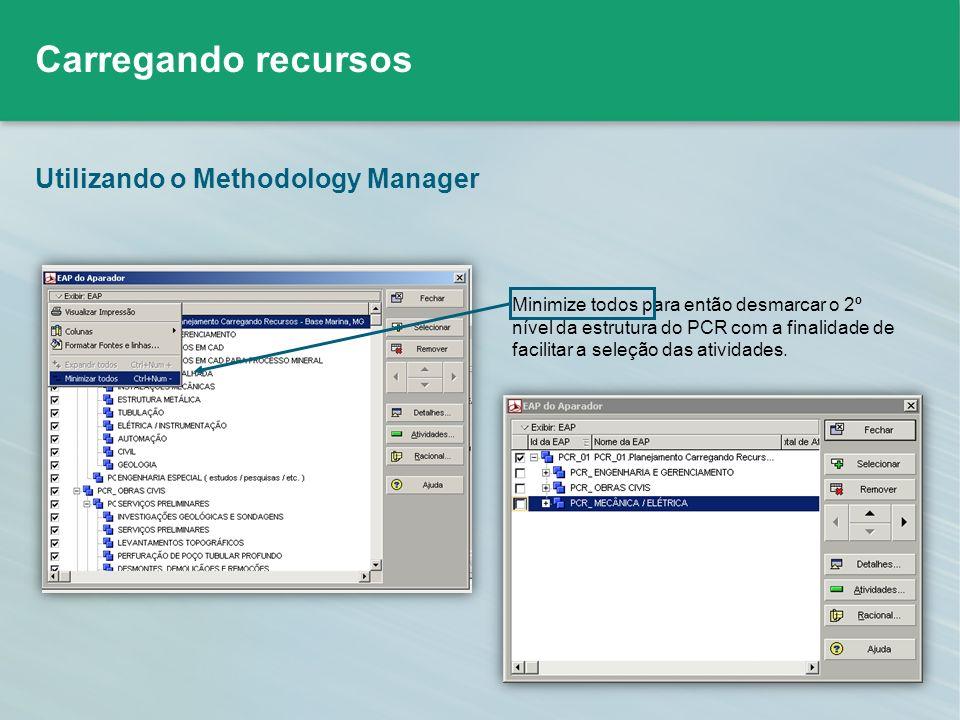 Utilizando o Methodology Manager Minimize todos para então desmarcar o 2º nível da estrutura do PCR com a finalidade de facilitar a seleção das ativid