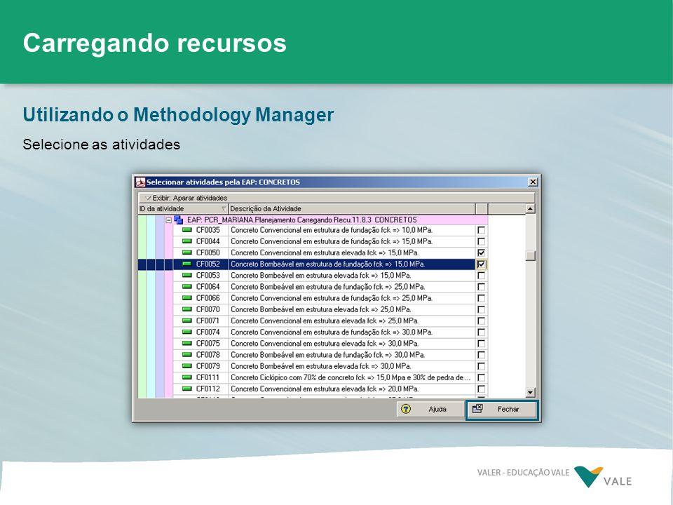 Utilizando o Methodology Manager Carregando recursos Selecione as atividades