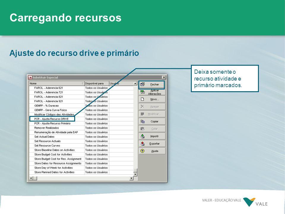 Ajuste do recurso drive e primário Carregando recursos Deixa somente o recurso atividade e primário marcados.