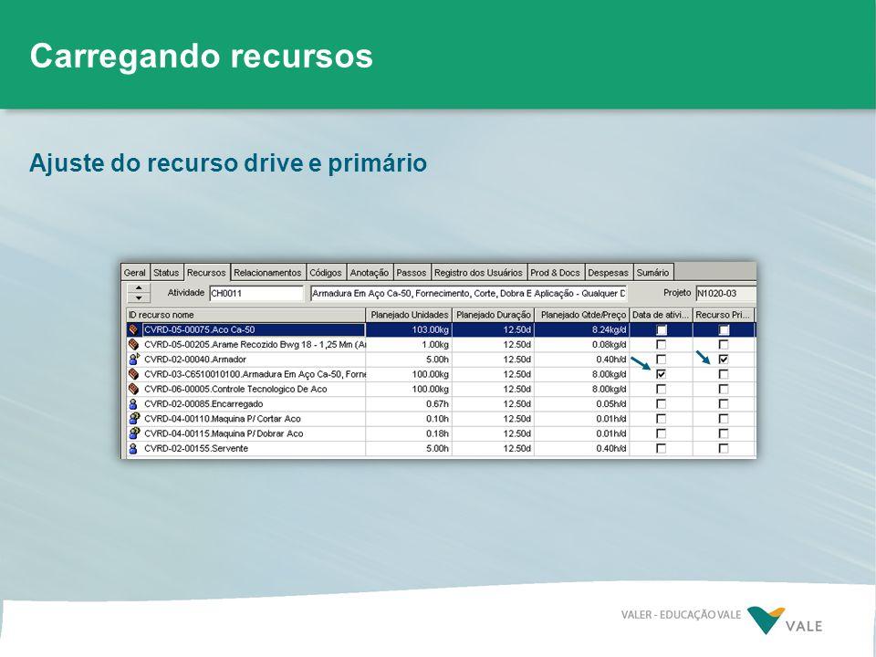 Ajuste do recurso drive e primário Carregando recursos