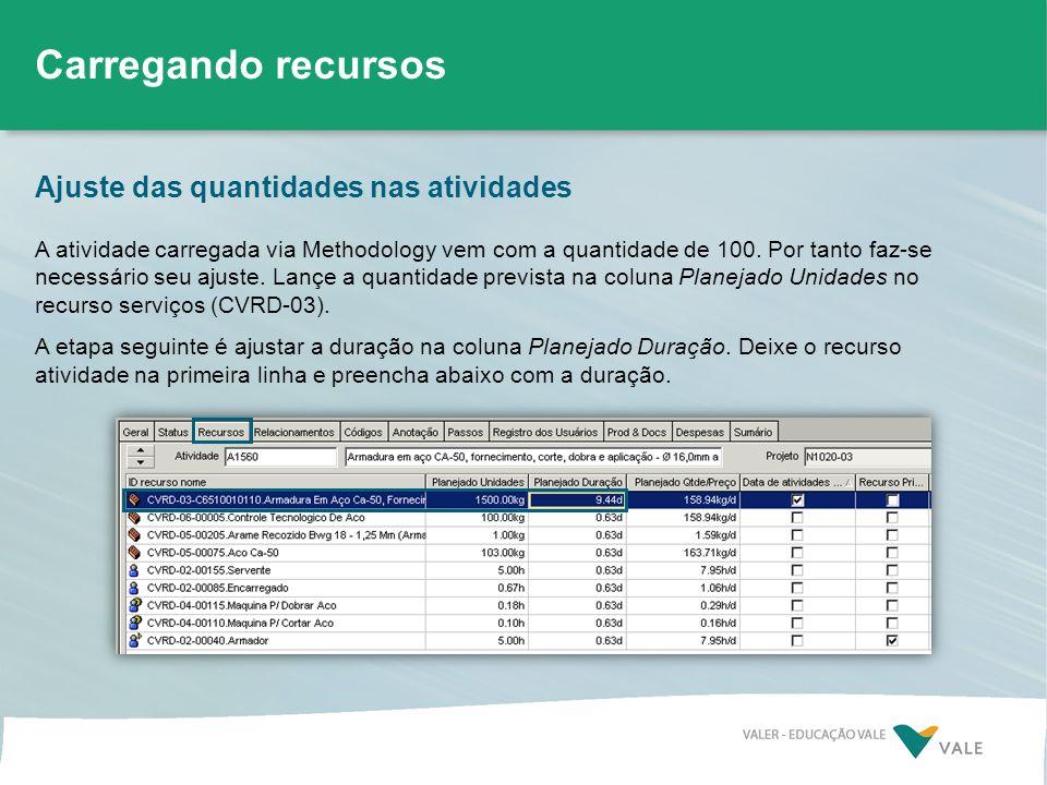Ajuste das quantidades nas atividades Carregando recursos A atividade carregada via Methodology vem com a quantidade de 100. Por tanto faz-se necessár